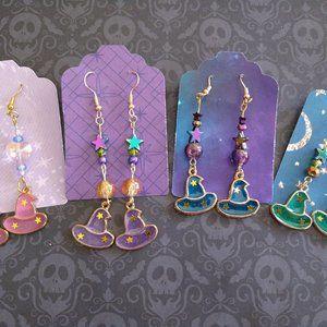 Witch hat charm earrings handmade ⭐🌙✨
